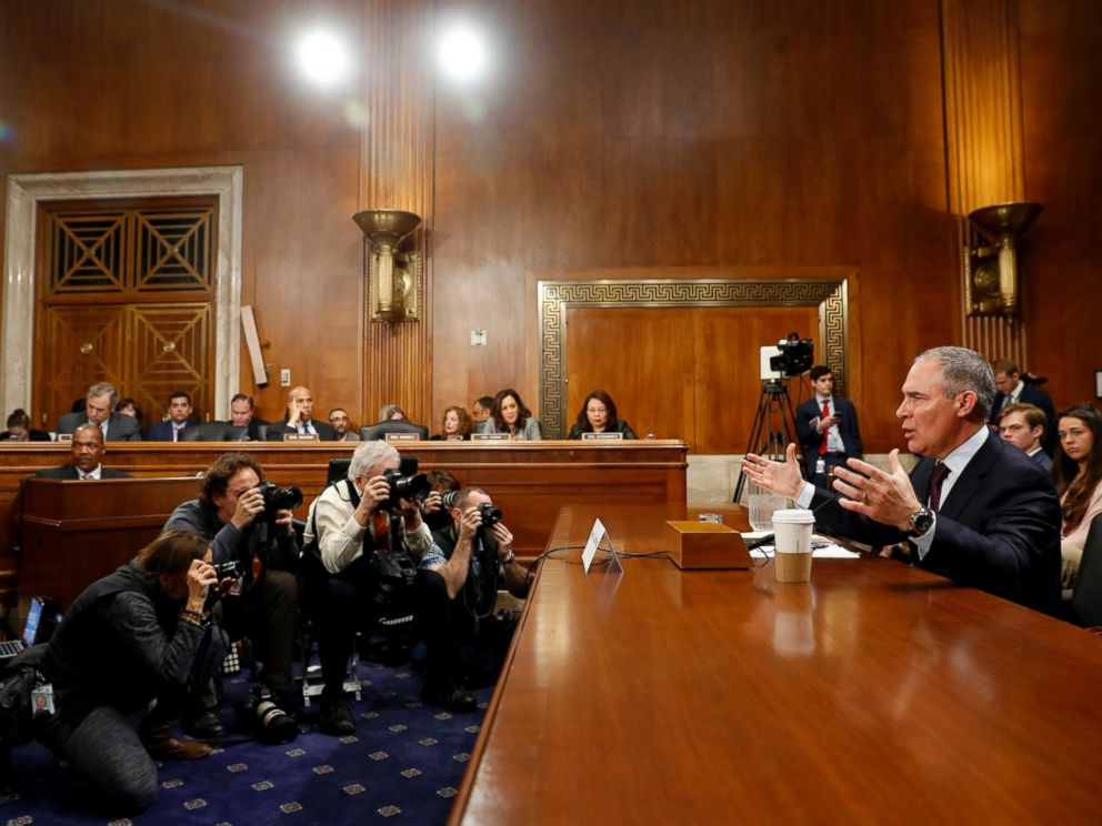 PHOTO: Oklahoma Attorney General Scott Pruitt testifies during his confirmation hearing before the Senate Committee on Environment and Public Works on Capitol Hill, Jan. 18, 2017, in Washington.