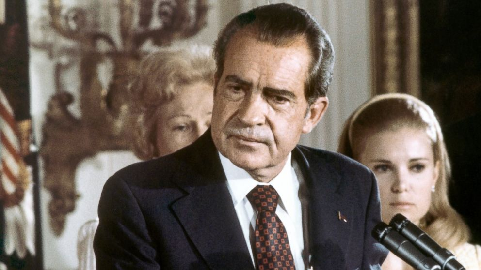 President Richard Nixon gives his farewell speech at the White House.