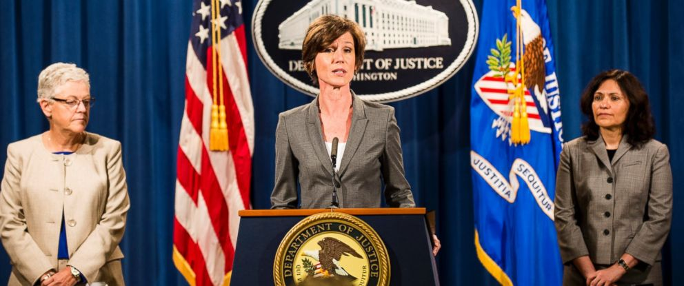 PHOTO: Sally Yates speaks during a press conference at the Department of Justice, June 28, 2016, in Washington.