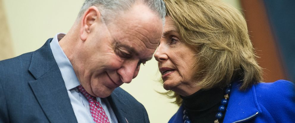 PHOTO: Senate Minority Leader Charles Schumer and House Minority Leader Nancy Pelosi attend a news conference to voice opposition to House Republicans health care plan, the American Health Care Act, March 14, 2017.