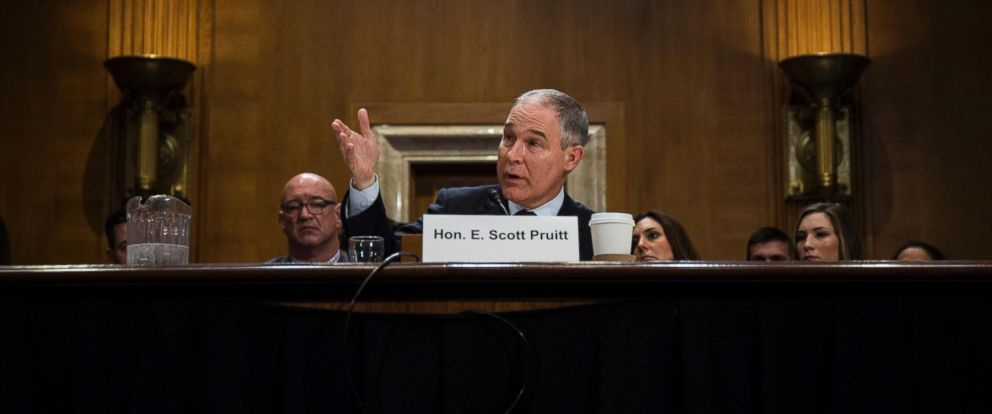 PHOTO: Oklahoma Attorney General Scott Pruitt testifies during a Senate Environment and Public Works Committee confirmation hearing on Capitol Hill, Jan. 18, 2017, in Washington.