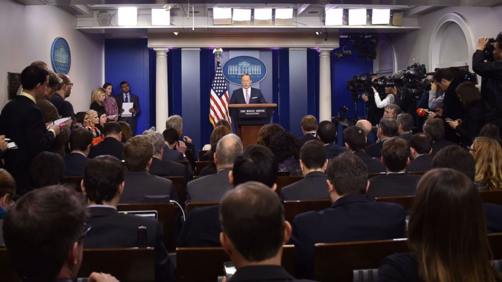 White House Press Secretary Sean Spicer holds the daily press briefing, Jan. 23, 2017, at the White House in Washington.