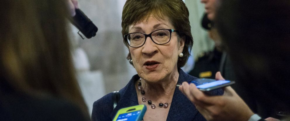 PHOTO: Senator Susan Collins speaks to the media outside of the Senate Chamber, March 16, 2016 in Washington, D.C.