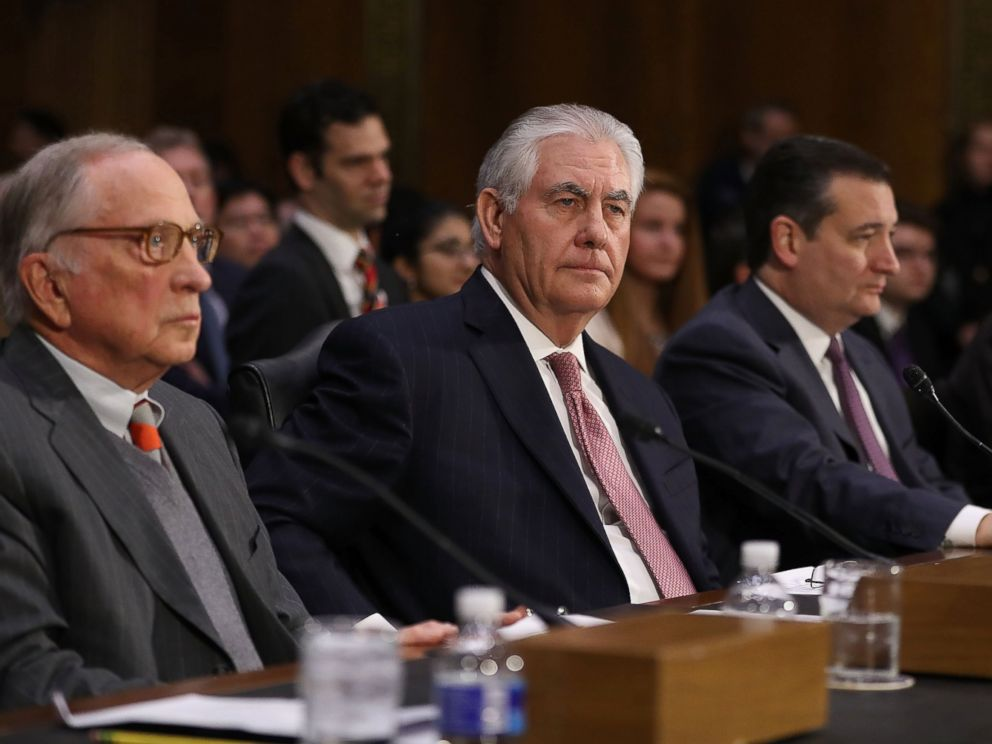 PHOTO: Rex Tillerson is seen here at his confirmation hearing for Secretary of State in the Dirksen Senate Office Building, Jan. 11, 2017, in Washington.