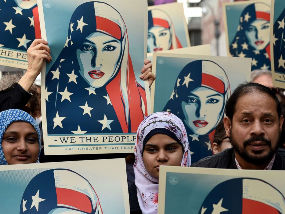 PHOTO: Protesters march in New Yorks Times Square in solidarity with American Muslims and against the travel ban ordered by President Donald Trump, Feb. 19, 2017.