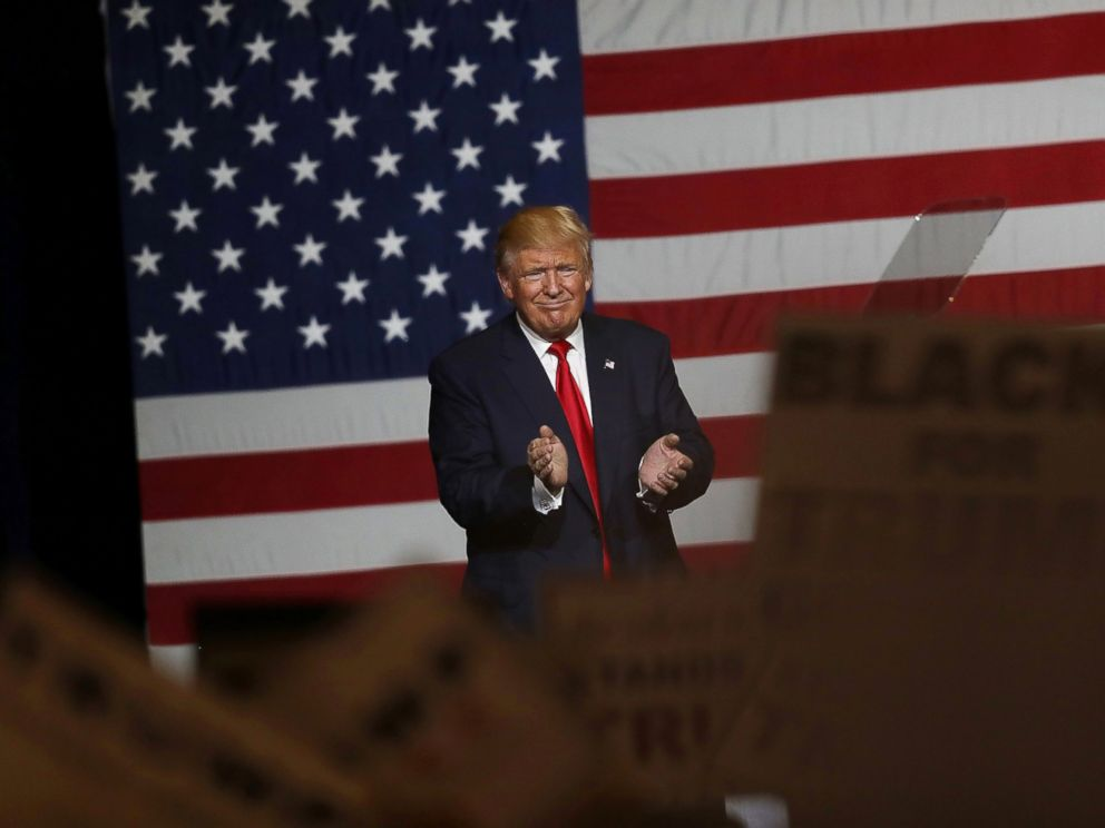 PHOTO: Donald Trump speaks during a campaign rally, Oct. 13, 2016, in West Palm Beach, Fla.