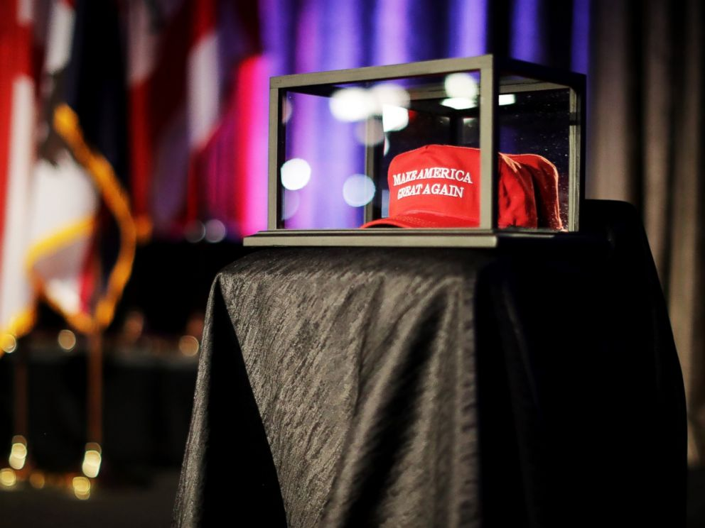 PHOTO: A Make America Great Again hat sits in a glass case during Republican presidential nominee Donald Trumps election night party at the New York Hilton Midtown, Nov. 8, 2016 in New York City.