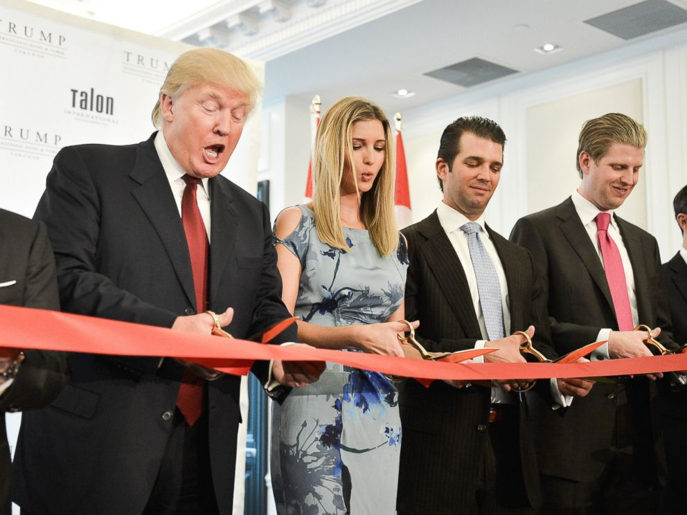 PHOTO: Donald Trump, Ivanka Trump, Donald Trump Jr. and Eric Trump attend the Grand Opening Ribbon Cutting Ceremony at the Trump International Hotel and Tower Toronto, April 16, 2012 in Toronto.