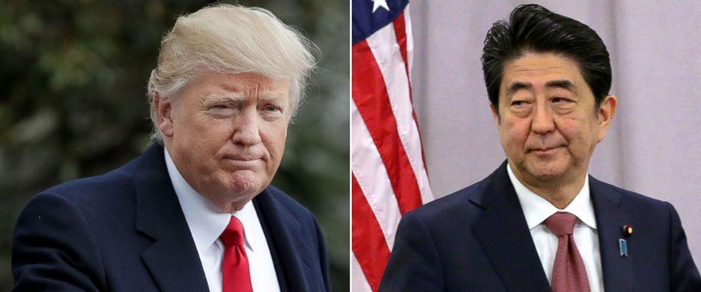 PHOTO: President Trump is to meet with Japanese Prime Minister, Shinzo Abe.