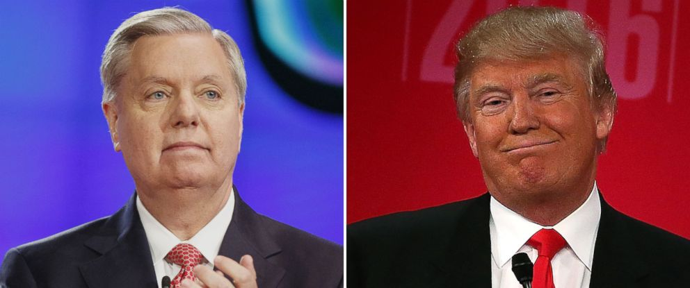 PHOTO: Sen. Lindsey Graham applauds on stage at the start of the Republican presidential candidate debate at The Venetian in Las Vegas, Nevada, Dec. 15, 2015. | Donald Trump participates in a CBS News GOP Debate, Feb. 13, 2016.