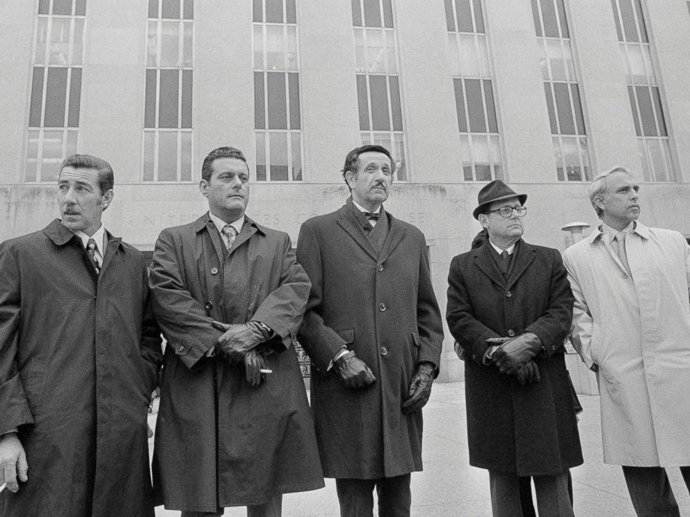 PHOTO: Virgilio Gonzales, Frank Sturgis, attorney Henry Rothblatt, Bernard Barker and Eugenio Martinez the defendants charged with breaking into the Democratic National Committee offices at the Watergate complex during their trial at a district court.