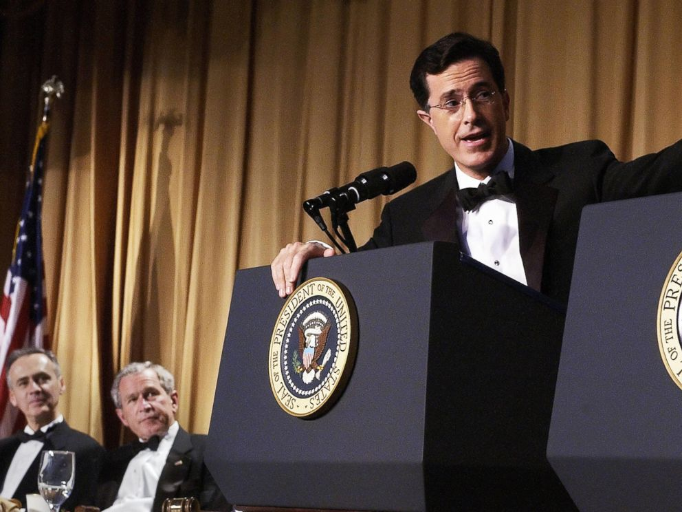 PHOTO: Guest host Stephen Colbert speaks as then-President George W. Bush and Tom Curley of the Associated Press look on at the White House Correspondents Association Dinner, April 29, 2006, at the Washington Hilton Hotel in Washington.