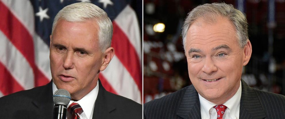 PHOTO: Republican Vice Presidential candidate Mike Pence in Simi Valley, California, Sept. 8, 2016; Democratic Vice Presidential candidate Tim Kaine in Philadelphia, July 28, 2016.