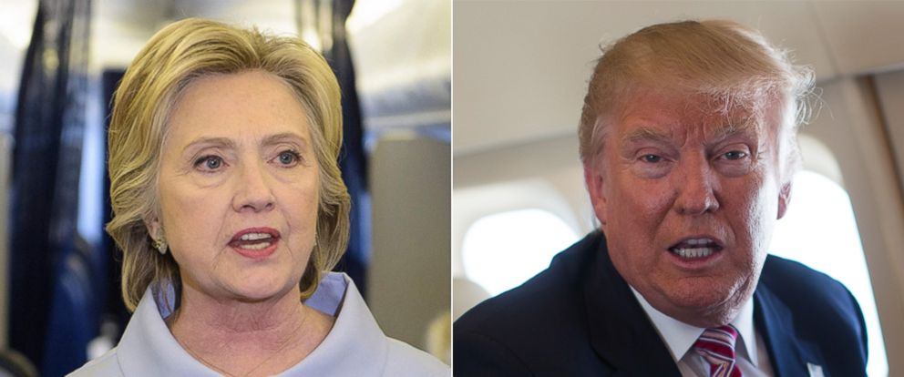 PHOTO: Democratic presidential nominee Hillary Clinton speaks to the press onboard her plane, Sept. 5, 2016, above Iowa | Republican presidential candidate Donald Trump talks with members of the media, Sept. 5, 2016, while flying over Ohio.