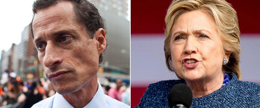 PHOTO: Anthony Weiner in New York, Aug. 29, 2013; Democratic presidential candidate Hillary Clinton speaks at a rally in Cedar Rapids, Iowa, Oct. 28, 2016.