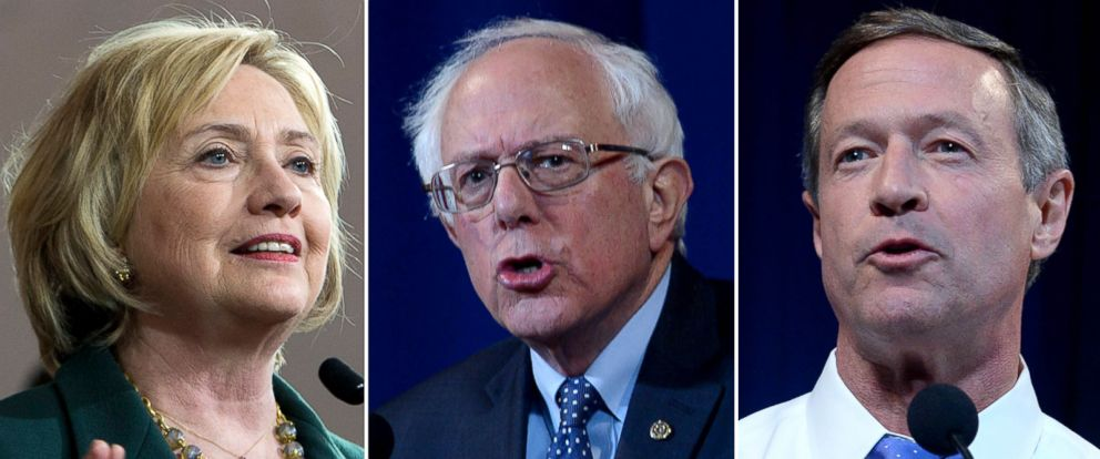 PHOTO: Pictured (L-R) are Democratic presidential candidates Hillary Clinton in Iowa City, Iowa, Dec. 16, 2015, Bernie Sanders in Manchester, N.H., Nov. 29, 2015 and Martin OMalley in Manchester, N.H., Nov. 29, 2015.