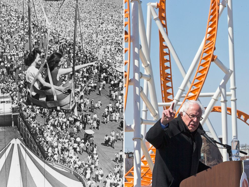 PHOTO: Left. people on a fairground ride at Coney Island in Brooklyn, New York, Sept. 8, 1946; right, Democratic presidential candidate, Sen. Bernie Sanders, speaks during a rally on the Coney Island boardwalk in Brooklyn, New York, April 10, 2016.
