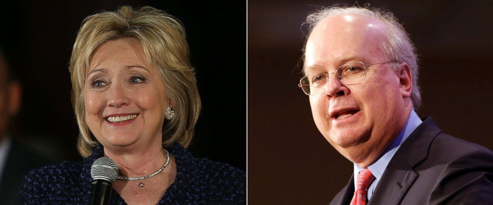 PHOTO: Pictured (L-R) are Democratic presidential candidate Hillary Clinton in Waterloo, Iowa, Jan. 11, 2016 and Republican strategist Karl Rove in Sacramento, Calif., March 2, 2013.