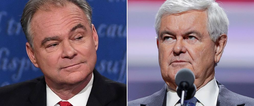 "PHOTO: Sen. Tim Kaine, left, and Newt Gingrich to appear on ""This Week."""