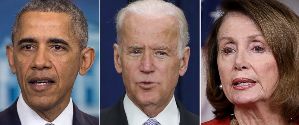 PHOTO: Pictured (L-R) in Washington are President Barack Obama on May 6, 2016, Vice President Joseph Biden on April 14, 2016 and House Minority Leader Nancy Pelosi on April 29, 2016.