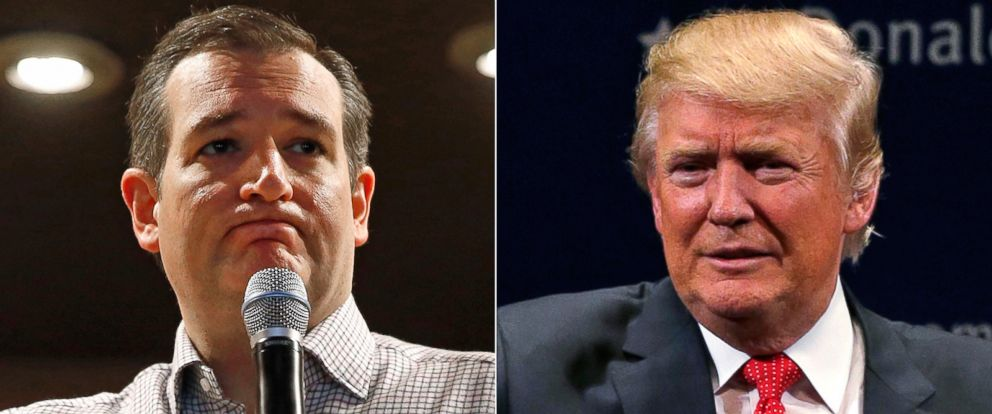 PHOTO: Pictured (L-R) are Republican presidential candidates Sen. Ted Cruz in Mason City, Iowa, Jan. 8, 2016 and Donald Trump in Burlington, Vt., Jan. 7, 2016.