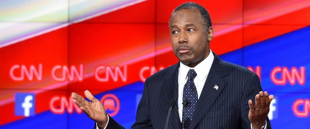 PHOTO: Republican presidential candidate retired neurosurgeon Ben Carson speaks during the Republican Presidential Debate, hosted by CNN, at The Venetian Las Vegas on Dec. 15, 2015 in Las Vegas.