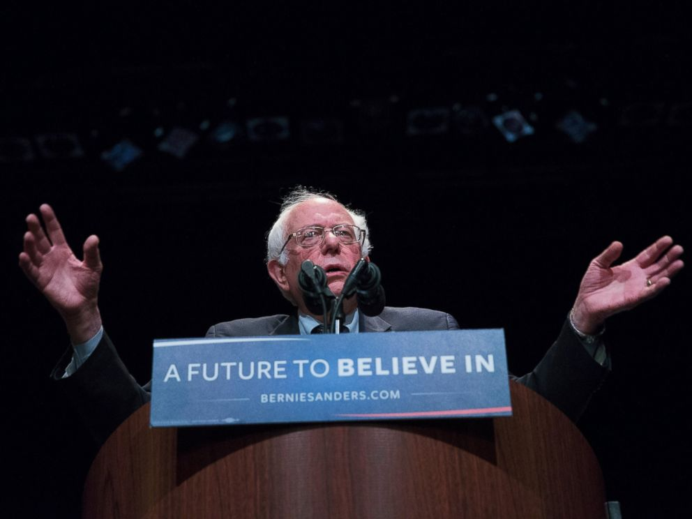 PHOTO: Democratic presidential candidate Senator Bernie Sanders (D-VT) speaks to guest at a campaign rally at the Grand Theater on April 3, 2016 in Wausau, Wis.