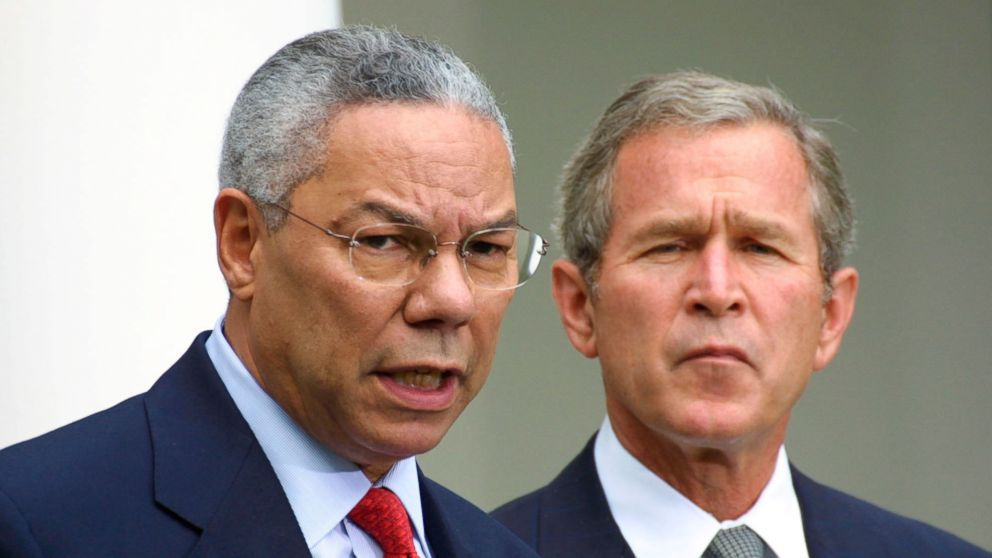 Secretary of State Colin Powell speaks during a press conference on terrorism with President George W. Bush, Sept. 24, 2001, in the Rose Garden at the White House, in Washington.