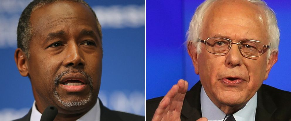 PHOTO: Republican presidential candidate Dr. Ben Carson in Washington on Oct. 9, 2015 and Democratic presidential candidate Sen. Bernie Sanders in Las Vegas on Oct. 13, 2015.