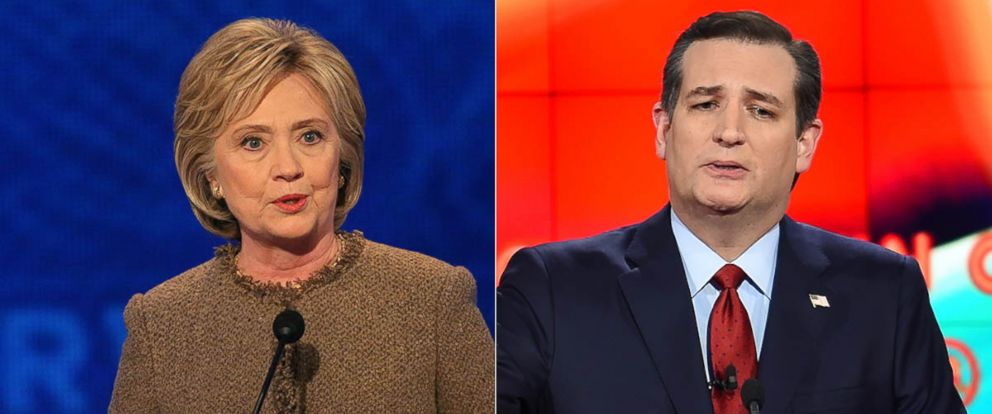 PHOTO: Ted Cruz at the Republican Presidential Debate, Dec. 15, 2015 in Las Vegas. Hillary Clinton at the Democratic Presidential Debate, Dec. 19, 2015 in Manchester, New Hampshire.