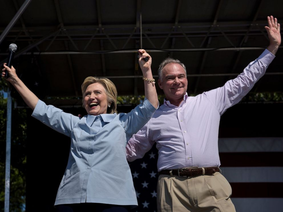 PHOTO:Democratic presidential nominee Hillary Clinton (L) and her running mate Tim Kaine cheer during a Labor Day rally September 5, 2016 in Cleveland, Ohio.