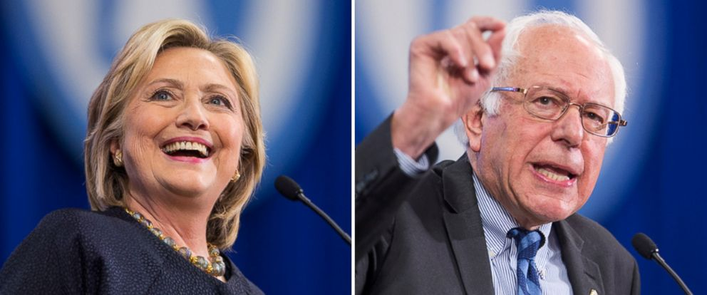 PHOTO: Democratic presidential candidates Hillary Clinton and Senator Bernie Sanders (I-VT) speak on stage during the New Hampshire Democratic Party Convention at the Verizon Wireless Center on Sept. 19, 2015 in Manchester, New Hampshire.