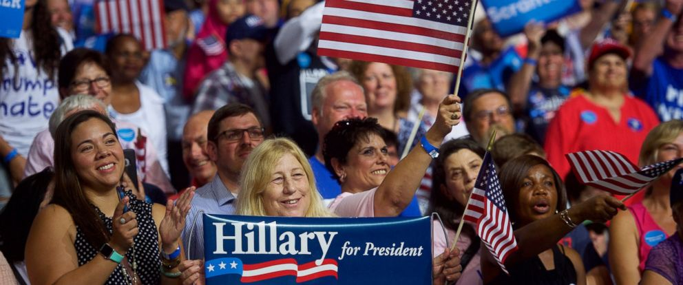 PHOTO: Hillary Clinton supporters react to her speech during a rally with Vice President Joe Biden at Riverfront Sports athletic facility, on Aug. 15, 2016, in Scranton, Pennsylvania.