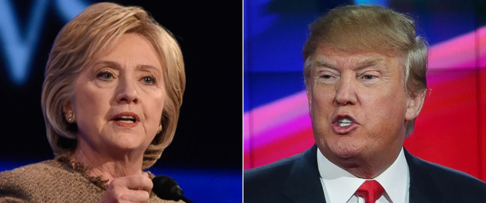 PHOTO: Hillary Clinton at the ABC News coverage of the Democratic Presidential debate in Manchester, NH, on Dec. 19, 2015 | Republican presidential candidate Donald Trump speaks during the CNN Republican presidential debate on Dec. 15, 2015 in Las Vegas.