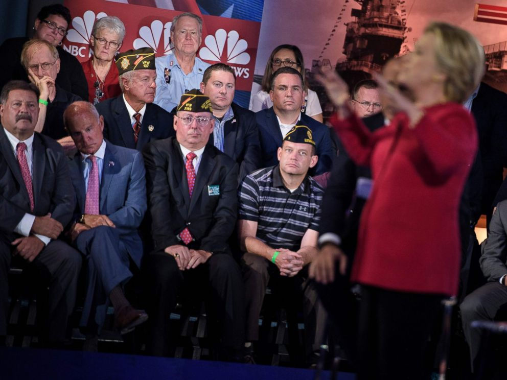 PHOTO:Democratic presidential nominee Hillary Clinton speaks during a veterans forum at the air and space museum aboard the aircraft carrier USS Intrepid on September 7, 2016 in New York, NY.