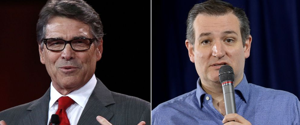 PHOTO:Rick Perry speaks at the Defending the American Dream summit in Columbus, Ohio, Aug. 22, 2015. Ted Cruz speaks at Exeter Town Hall, Jan. 20, 2016, in Exeter, N.H.