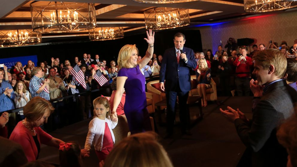 """Ted Cruz speaks to guests at a town hall event called """"Women for Cruz"""" Coalition Rollout with wife Heidi, mother Eleanor Cruz, and former Republican candidate Carly Fiorina, March 30, 2016, in Madison, Wisconsin."""