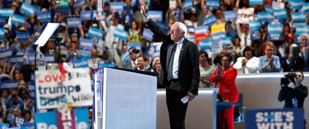 PHOTO: Sen. Bernie Sanders acknowledges the crowd before delivering remarks on the first day of the Democratic National Convention, July 25, 2016 in Philadelphia.