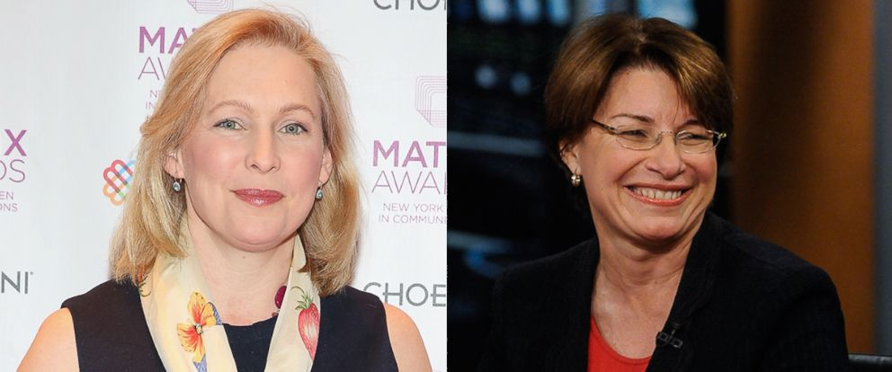 """PHOTO: Kristen Gillibrand attends the 2015 Matrix Awards, April 27, 2015 in New York. Amy Klobuchar appears on """"Meet the Press"""" in Washington, April 28, 2013."""