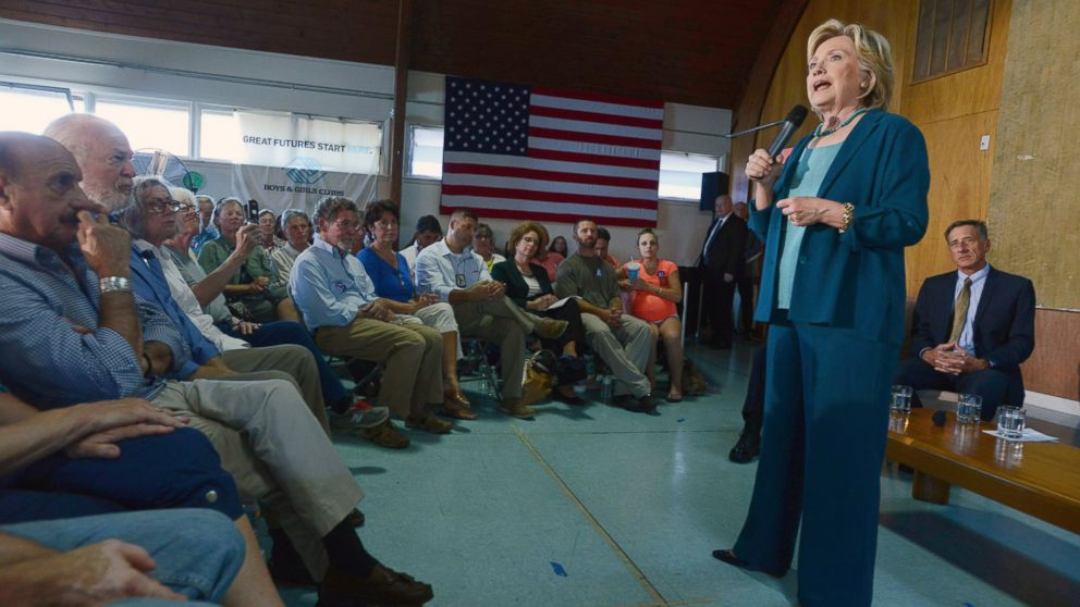 Democratic Presidential candidate Hillary Clinton speaks during a community forum on substance abuse Sep. 17, 2015 in Laconia, N.H.