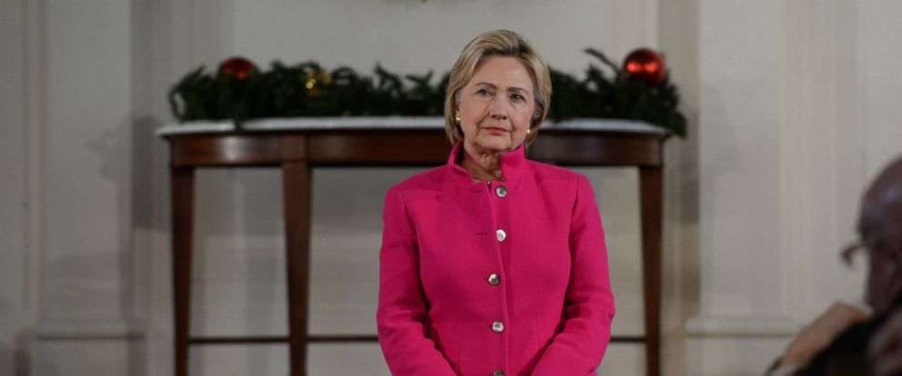 PHOTO: Democratic Presidential candidate Hillary Clinton listens to a question at South Church Dec. 29, 2015 in Portsmouth, N.H.