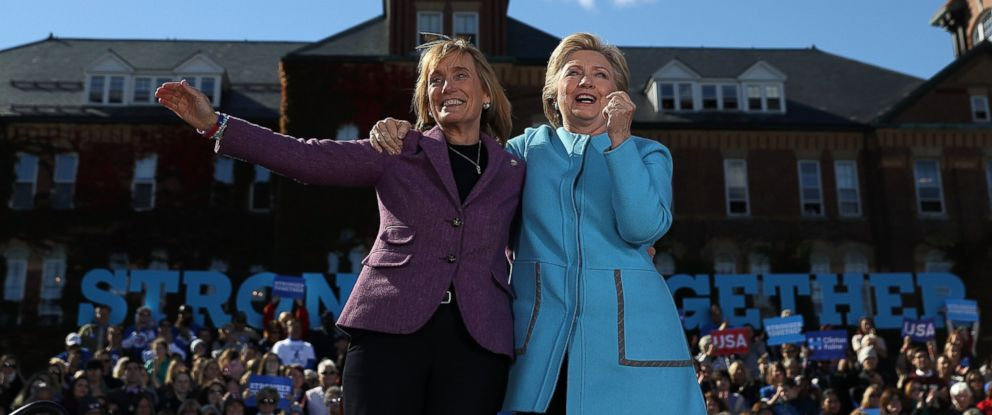 PHOTO: Democratic presidential nominee Hillary Clinton with New Hampshire Gov. Maggie Hassan during a campaign rally at Saint Anselm College on October 24, 2016 in Manchester, NH.
