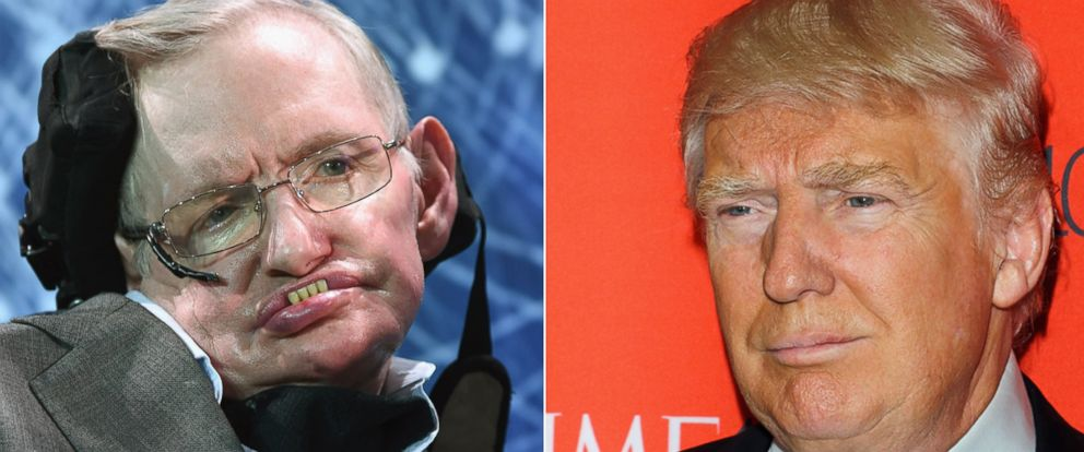 PHOTO: Stephen Hawking is seen, April 12, 2016, in New York. Right, Donald Trump attends the 2016 Time 100 Gala at Frederick P. Rose Hall, Jazz at Lincoln Center, April 26, 2016, in New York.