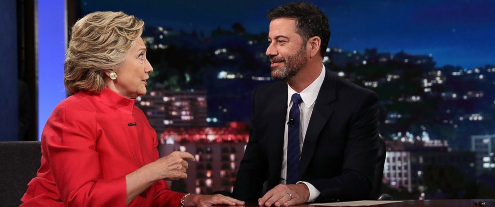 """PHOTO: Hillary Clinton talks with Jimmy Kimmel on the set of """"Jimmy Kimmel Live!"""" Aug. 22, 2016, in Los Angeles."""