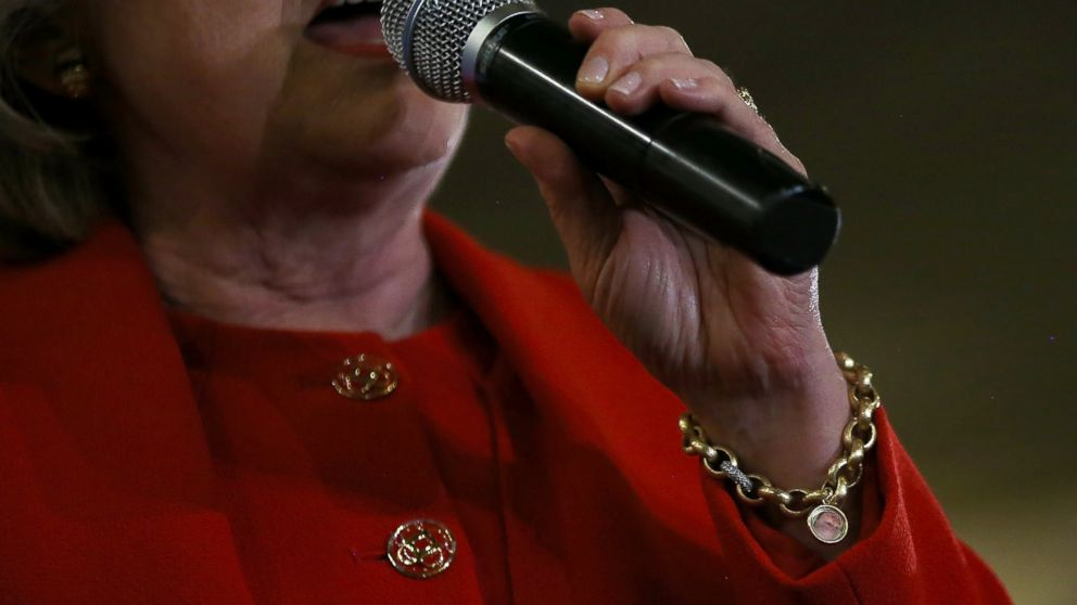 Democratic presidential candidate former Secretary of State Hillary Clinton wears a charm bracelet with an image of her granddaughter Charlotte Clinton Mezvinsky as she speaks during a Bronx Organizing Event on April 13, 2016 in the Bronx borough of New York.