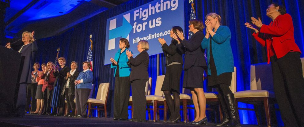 PHOTO: Hillary Clinton receives a standing ovation as she speaks at a Women Senators Endorsement Event for Democratic Presidential Candidate Hillary Clinton at the Hyatt Regency on Capitol Hill, in Washington, Nov. 30, 2015.