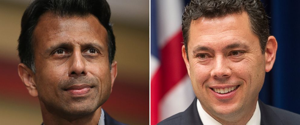 PHOTO: Republican presidential candidate Louisiana Governor Bobby Jindal at The Family Leadership Summit on July 18, 2015 in Ames, Iowa and House Oversight and Government Reform Committee Chairman Jason Chaffetz in Washington on April 29, 2015.