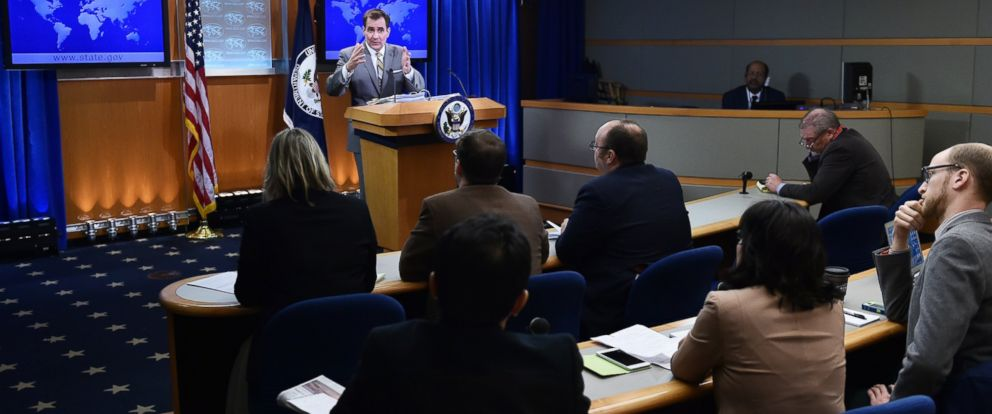 PHOTO: State Department Spokesman John Kirby speaks during the daily briefing at the State Department, Jan. 6, 2015 in Washington.