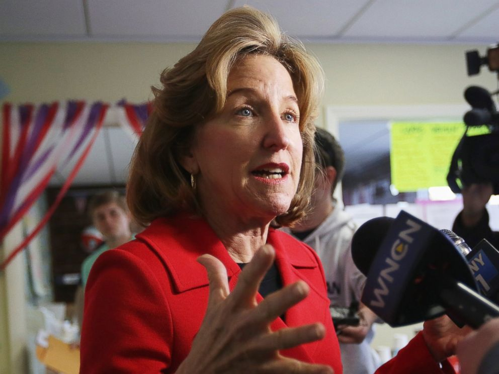 PHOTO: Incumbent U.S. Sen. Kay Hagan (D-NC) speaks to members of the media during a visit at her campaign office Nov. 3, 2014 in Cary, N.C.