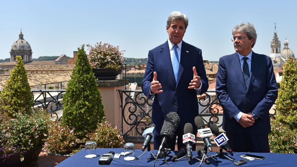 US Secretary of State John Kerry (L) meets Italian Foreign minister Paolo Gentiloni  in Rome on June 26, 2016.